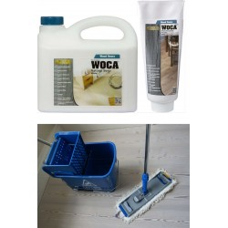Kit Saving: DC021, Premium care for white oiled or UV-oiled floors inc Woca white versions of Soap & Maintenance Gel plus Breakframe Flat Mop & Bucket and wringer   (DC)