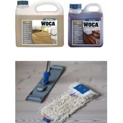Kit Saving: DC123, Standard clean natural classic oiled floors inc 2.5ltr Woca natural soap, 1ltr Maintenance Oil and a Breakframe Mop  (DC)