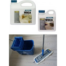 Kit Saving: DC127, Premium for white classic oiled floors inc Woca white versions of Soap & Maintenance Oil plus Breakframe flat Mop, Bucket and wringer   (DC)
