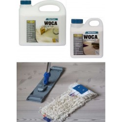 Kit Saving: DC128, Standard, Clean white classic oiled floors inc Woca white versions of soap, maintenance oil and a breakframe flat mop  (DC)