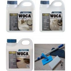 Kit Saving: DC131, Starter care and care for white classic oiled wood, inc a Doodlebug, 1ltr Woca white Natural Floor Soap, white Maintenance Oil and 1ltr Wood Cleaner  (DC)
