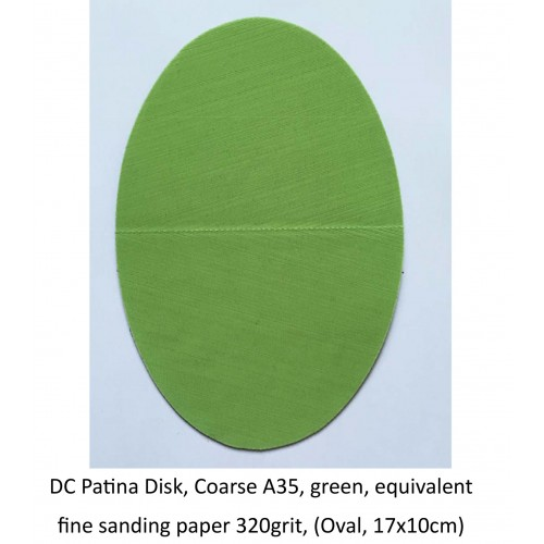 DC Patina Disk, Coarse A35, green, equivalent fine sanding paper 320grit, (Oval, 17x10cm) (DC)